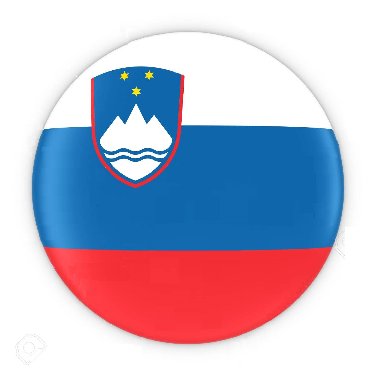 Slovenian Flag Button - Flag of Slovenia Badge 3D Illustration